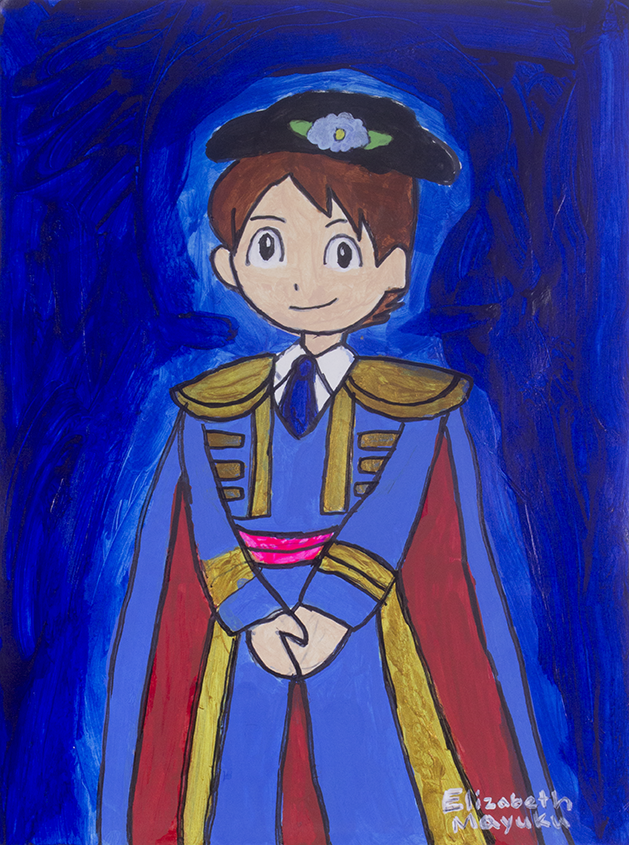 """Nathan Adams As Cinderfella . Acrylic and paint marker on paper. 9"""" x 12""""."""
