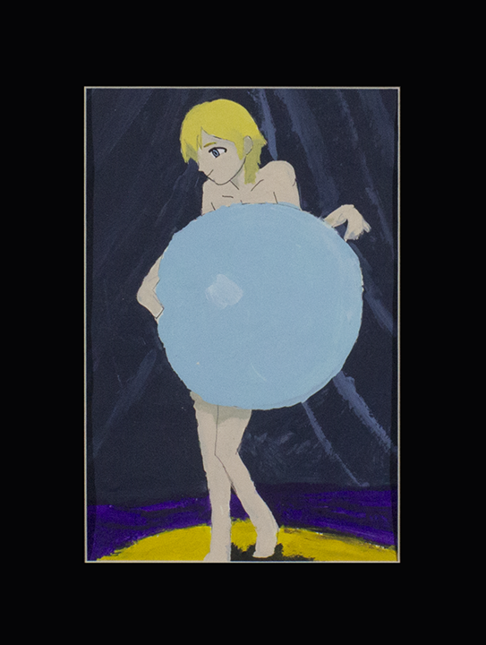 """Thomas H. Norstein in Bubble Dance . Acrylic and pen on bristol. 12"""" x 16"""" matted."""