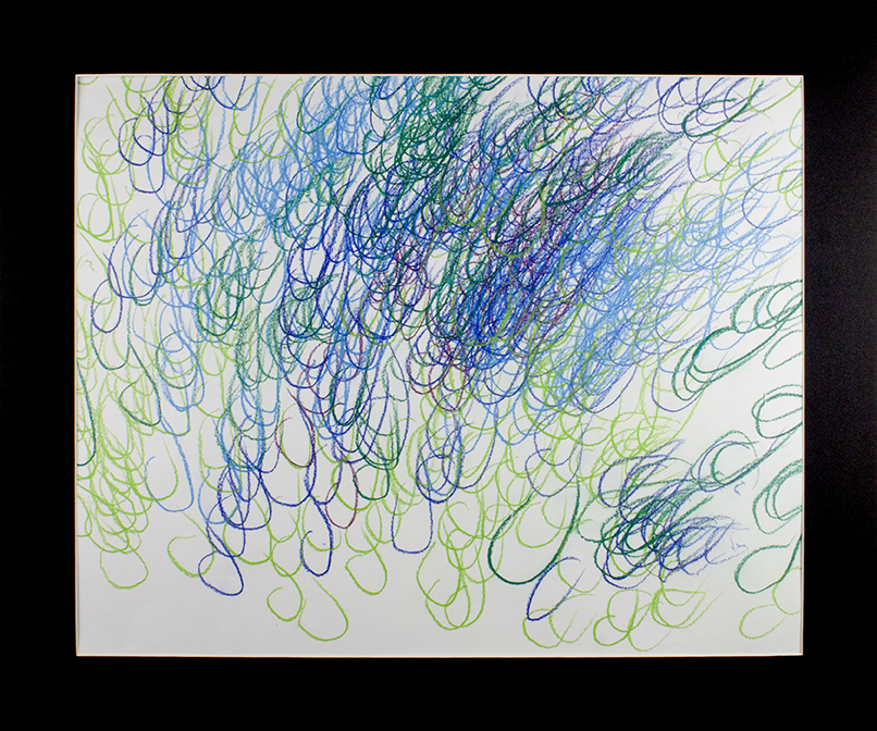 """Blue Green Emotions.  Watercolor pastels on paper. 24"""" x 20"""" matted."""