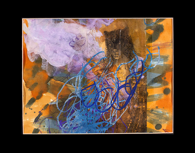 """Indian   Spirit . Image transfer, watercolor, colored pencil, and paint marker. 14"""" x 11"""" matted."""