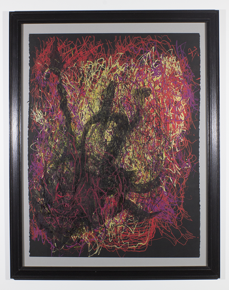 """Anger . 2018. Paint marker, india ink, and oil pastel. 25"""" x 33"""" framed."""