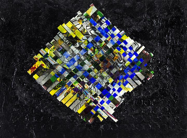 "Majic   Diamond . Acrylic and woven paper on canvas panel. 24"" x 18""."
