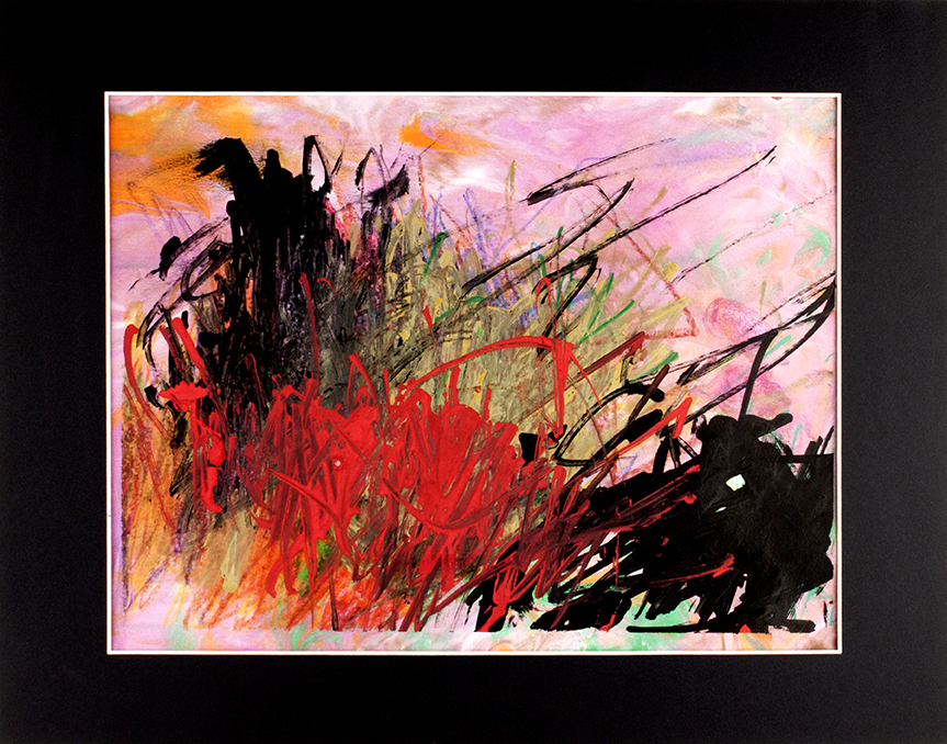 """Wild   Mind . Crayon, washable marker, and paint marker on hand marbled paper. 14"""" x 11"""" framed."""
