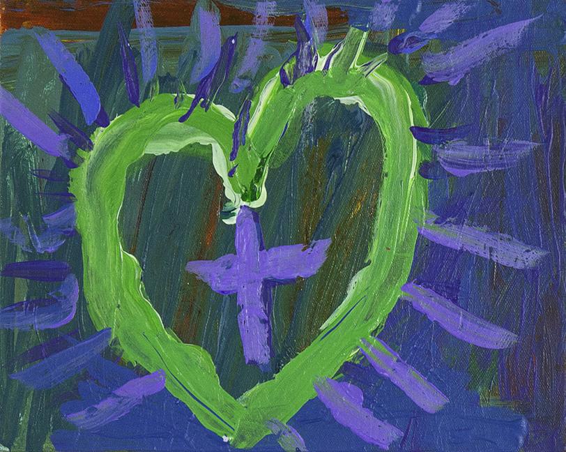 "Bursting with Love.  2018. Acrylic on canvas panel. 10"" x 8""/"