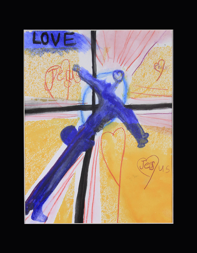 """Love   Jesus . Watercolor and watercolor pencil on paper. 11"""" x 14"""" matted."""