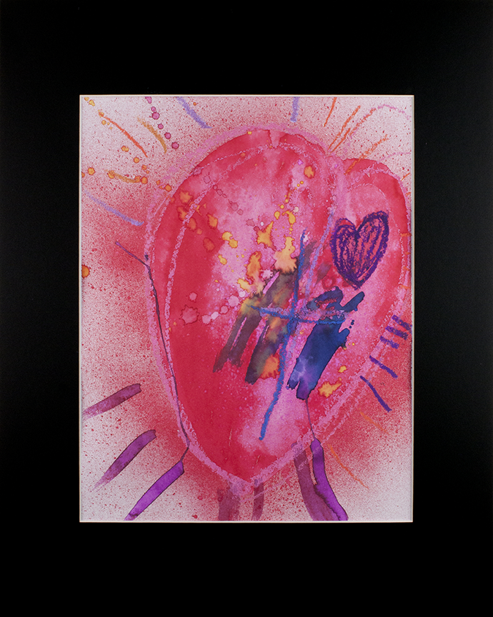 """Pounding   Heart . Oil Pastels and watercolors. 16"""" x 20"""" matted."""