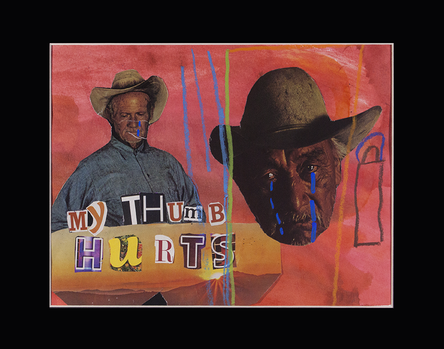 """Sad   Cowboy . 2018. Watercolor, collage, paint marker, and watercolor pastel on paper. 14"""" x 11"""" matted."""