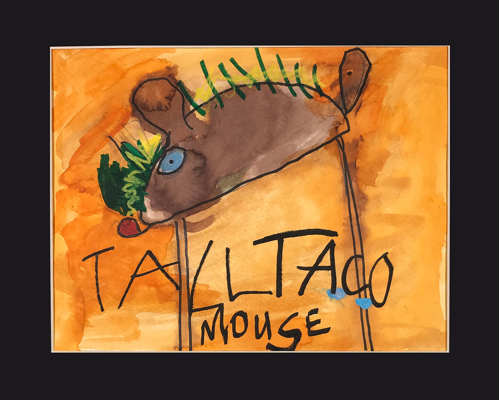"""Tall Taco Mouse . 2017. Mixed Media on paper. 14""""  x 11"""" matted. Sold."""