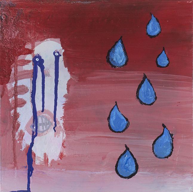 """Tears . Acrylic on canvas. 12"""" x 12""""."""