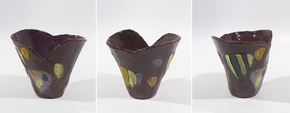 """Untitled. Earthenware with commercial glazes. 6.75"""" x 5"""" x 5.625""""."""