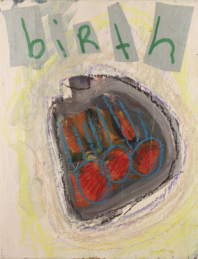 """Birth . Mixed media collage on canvas panel. 9"""" x 12""""."""