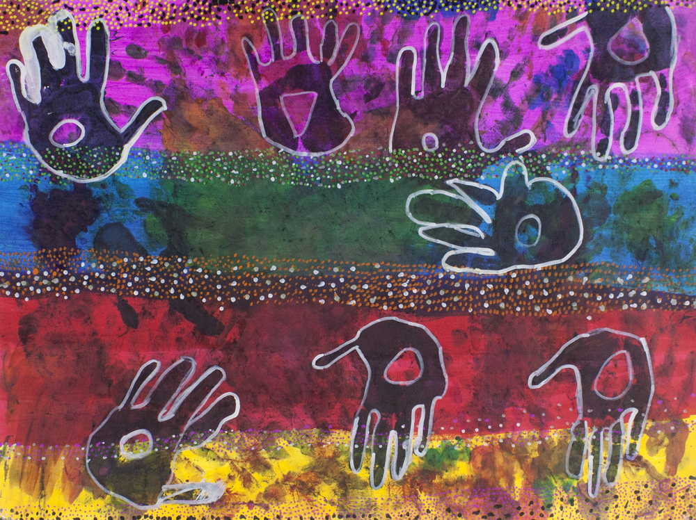 """African Colors . 2019. Watercolor and paint marker on paper. 24"""" x 18""""."""