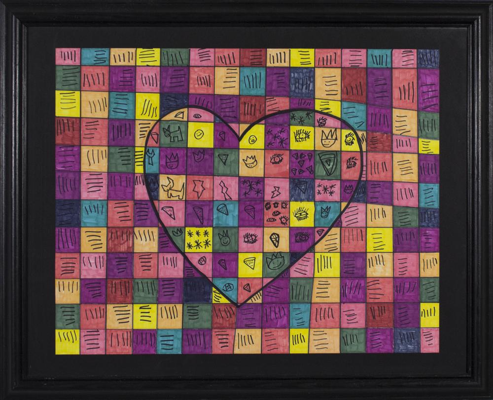 """Colorful Love.  2017. Prismacolor marker on bristol. 24"""" x 18"""" framed."""