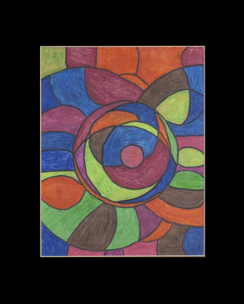 """Excellent Colors.  Colored pencil and marker on paper. 16"""" x 20"""" matted."""