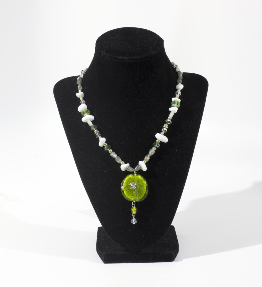 Necklace with Swarovski Crystals, Rainbow Moonstone, White Mountain Jade, and Labradorite. 2018.