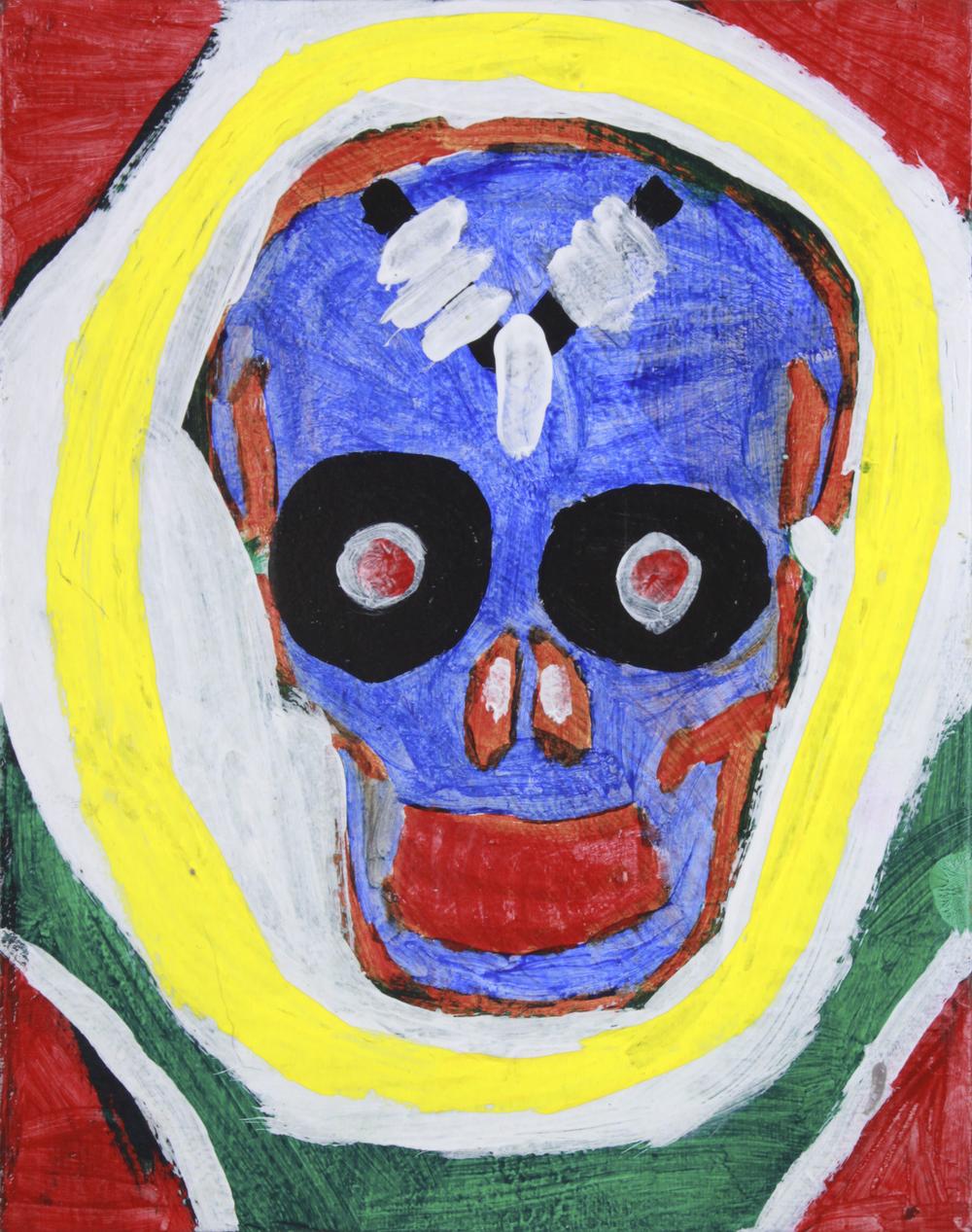 "Skull . Acrylic paint on canvas panel. 8"" x 10""."
