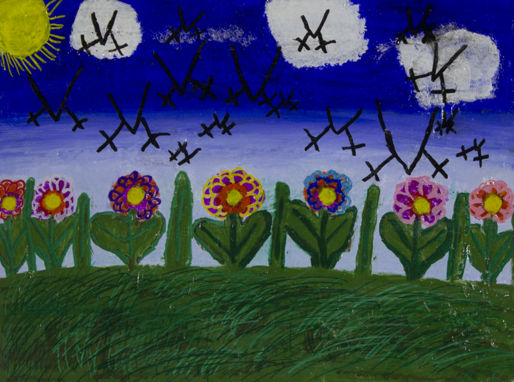 """Sunny Day . 2018. Acrylic and paint marker on canvas panel. 24"""" x 18""""."""