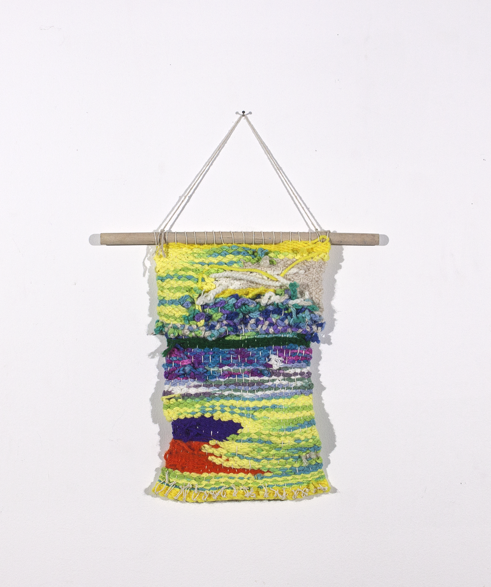 """Untitled . 2018. Hand weaving with mixed yarn. 11"""" X 7"""". Sold."""