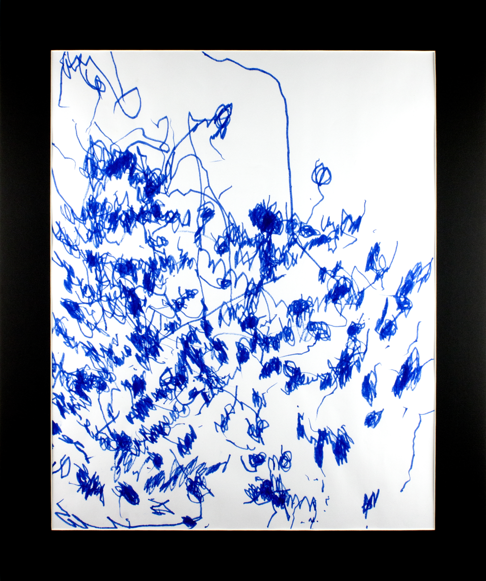 """Blue . Marker on paper. 20"""" x 24"""" matted."""