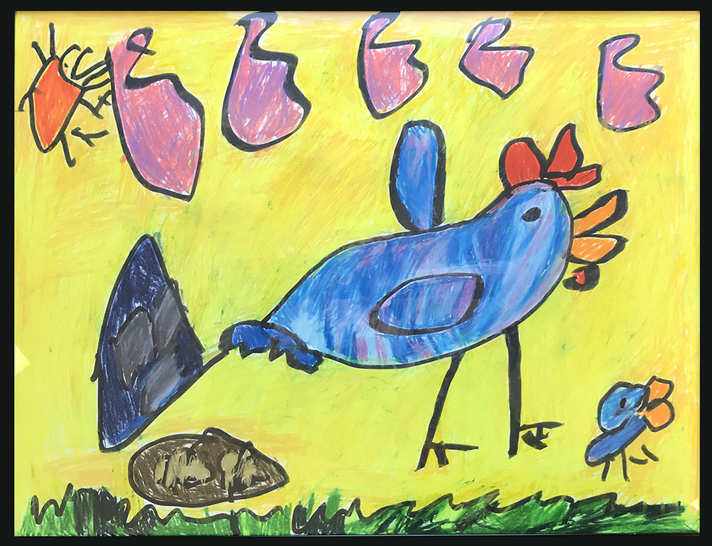 """Blue Chickens on a Sunny Day . Colored pencil and sharpie on paper. 24"""" x 18"""" framed."""