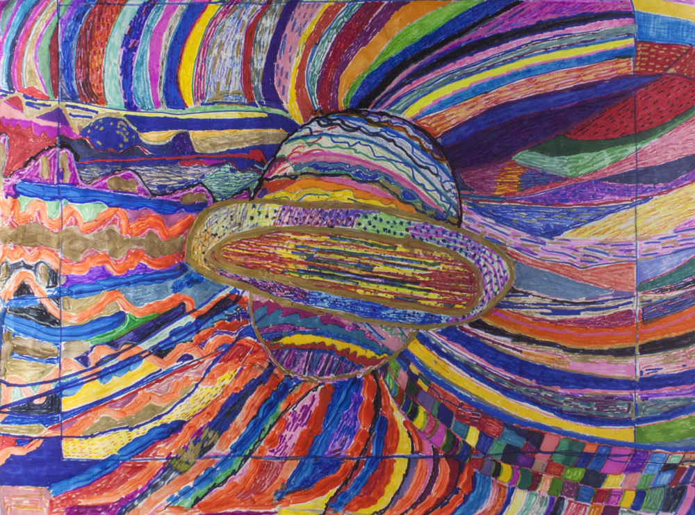 """Extra Terrestrial.  Mixed media collage on paper. 24"""" x 18""""."""