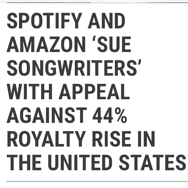 After 110 years songwriters finally see and increase in royalty earnings thanks to #mma passing and this happens today... Giant tech companies appealing the CRB ruling that increases songwriter's earnings. #applemusic is the only one that is not set to appeal... #Spotify #amazon #pandora #google  #songwriters  #copyright #shameful