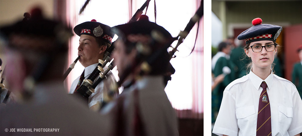 Portrait of young woman bag piper and pipers playing