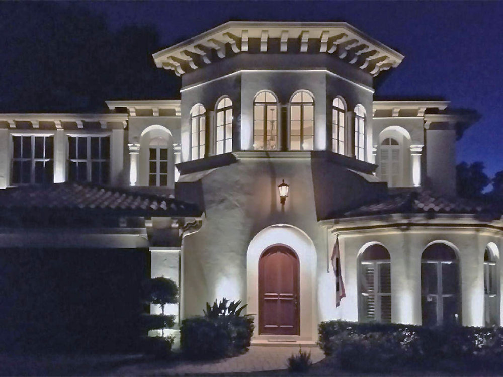 Low-Voltage Lighting - ① Automated Halogen and LED Systems② Added nighttime beauty/ Improved home security