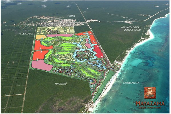 Planned expansion of Tulum town to the sea.