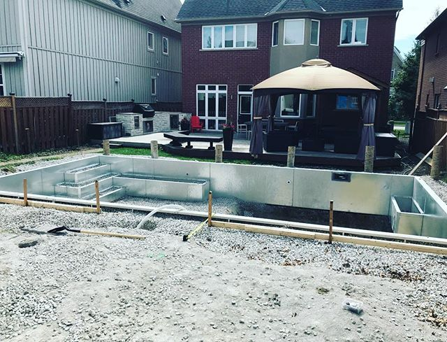 Ready for stone coping. It is hot in this backyard. 😓#unionvillepools #poolboysinc