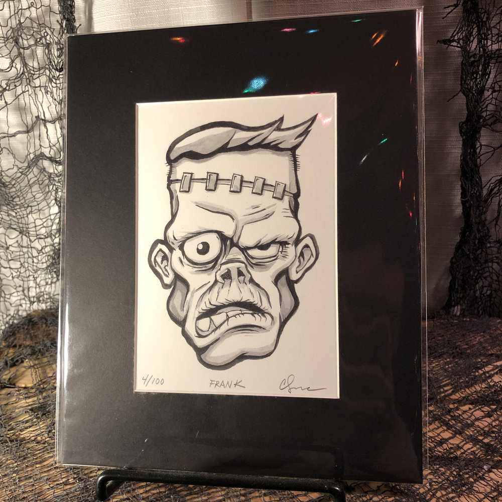 Frank Limited Edition Print    $15.00   Original, modern cartoon spin on the classic Monster from Universal Studios' Frankenstein.