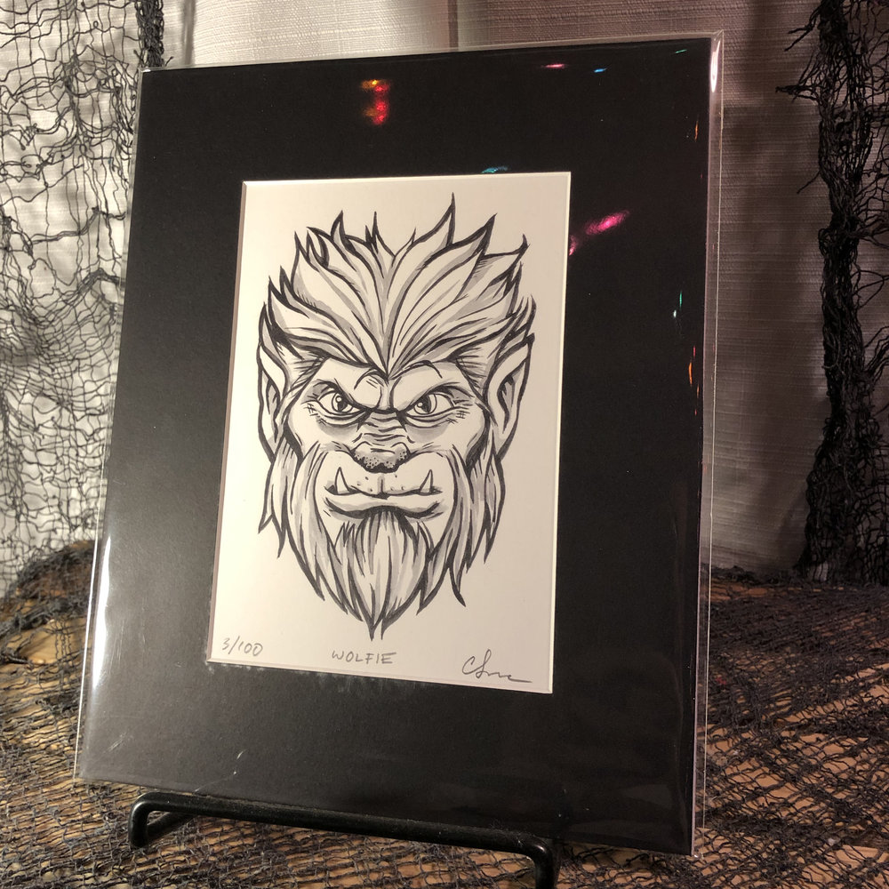Wolfie Limited Edition Print    $15.00   Original, modern cartoon spin on the classic Monster from Universal Studios' The Wolfman.