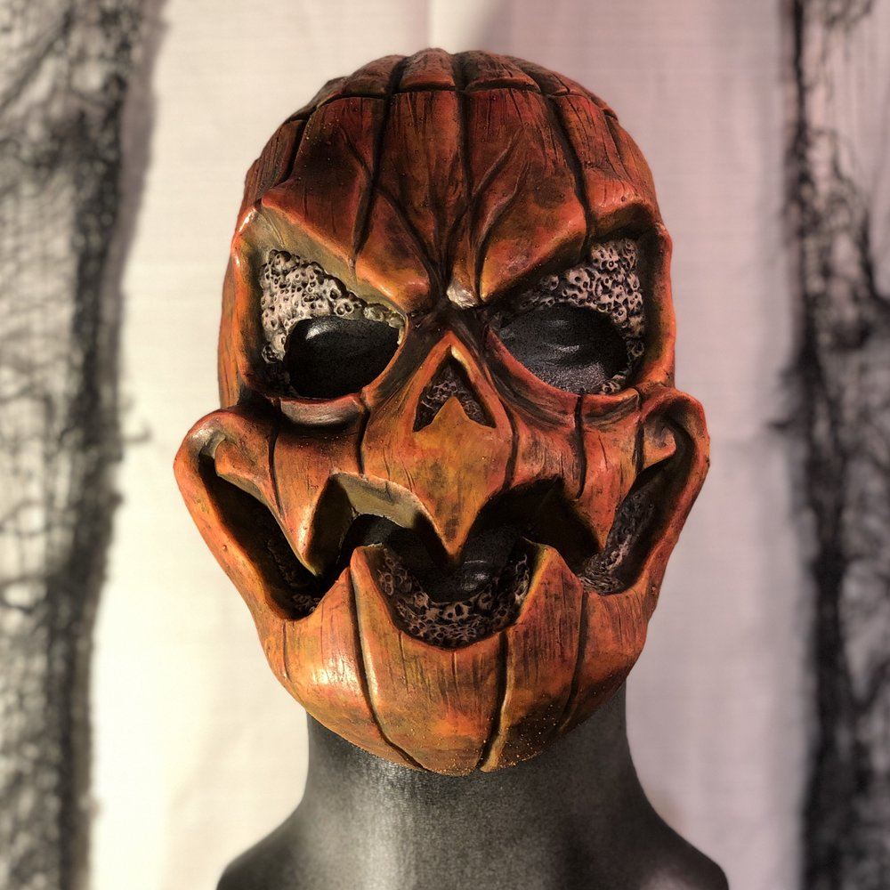 Jack    $80.00   Become this garish gourd.  Featured in Insanitarium Haunted Attraction.  100% Natural Latex Mask