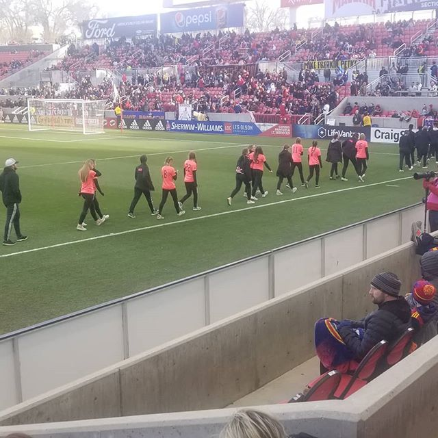 SWAT Crush girls on the field at Rio Tinto stadium getting recognized as President Cup Champions. RSL home opener. Great job girls! 😎 #swatcrush #swatsoccer #swatunited #rsl