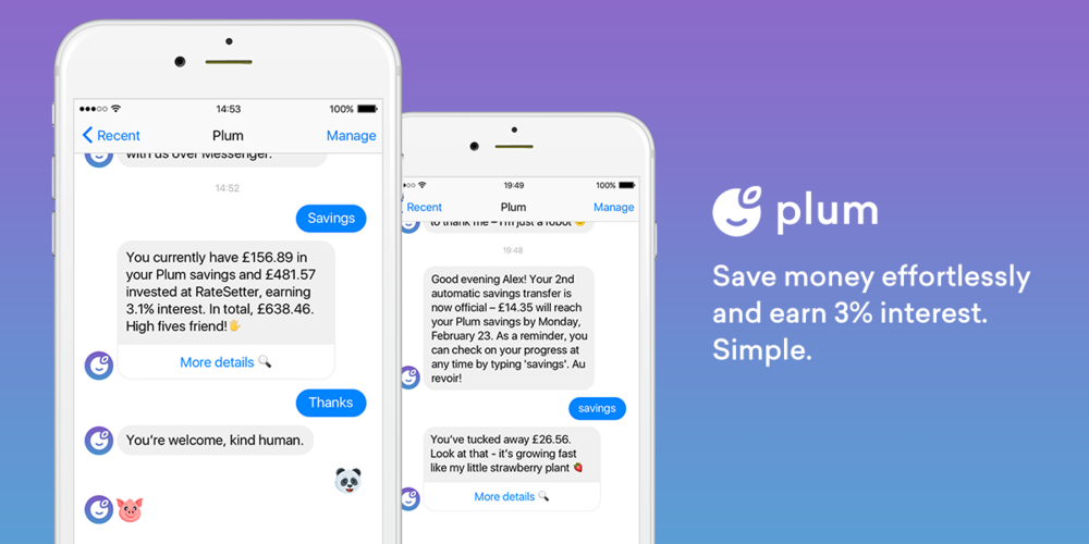 Plum - the super handy saving expert! Right in your Messenger!