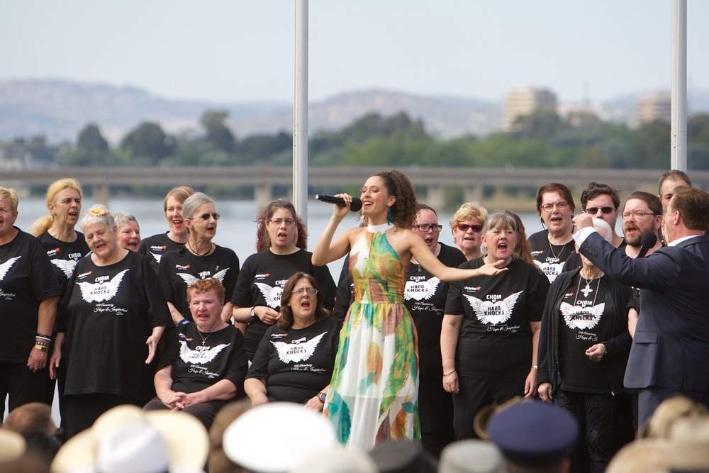 Patron, Danielle Matthews performs with the Choir of Hard Knocks at the  Citizenship Ceremony  in Canberra, 2017