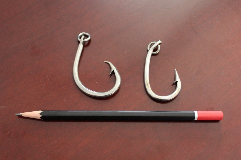 Circle hook (left) and conventional J hook (right)