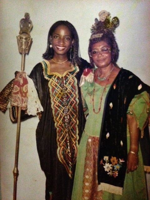 Mom & I in Nigeria, the day she was bestowed the title of Chief.