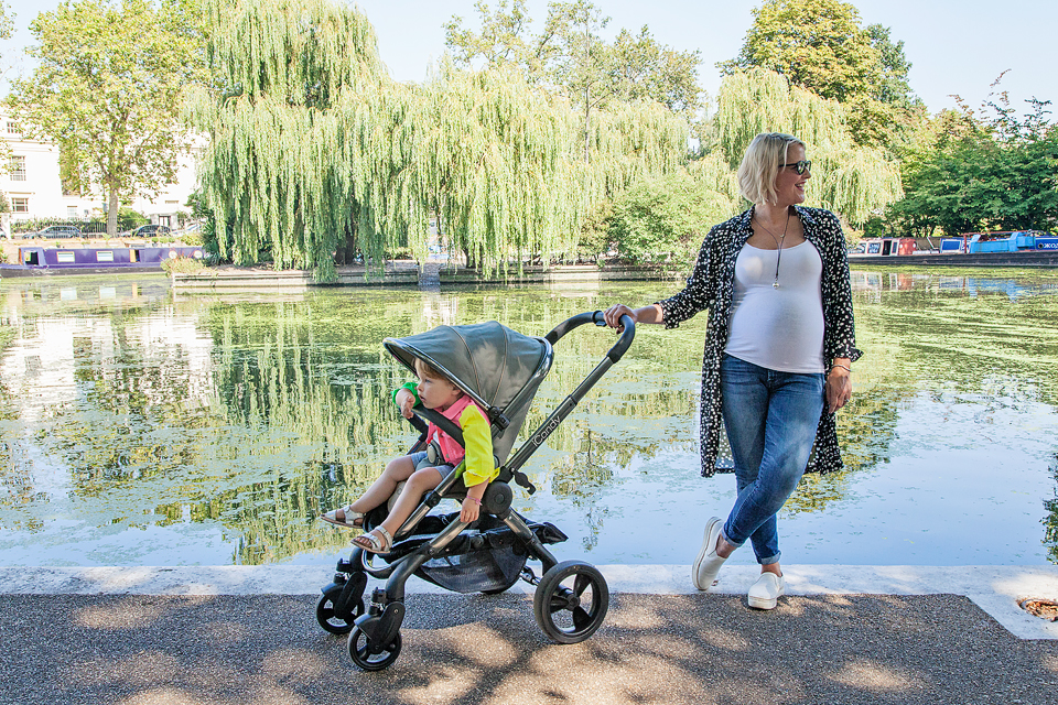 Cat Simms with her daughter Billie Scout. Cat writes the blog Not So Smug Now and also co-runs Hustle and Fox. They are photographed using their new iCandy pushchair.