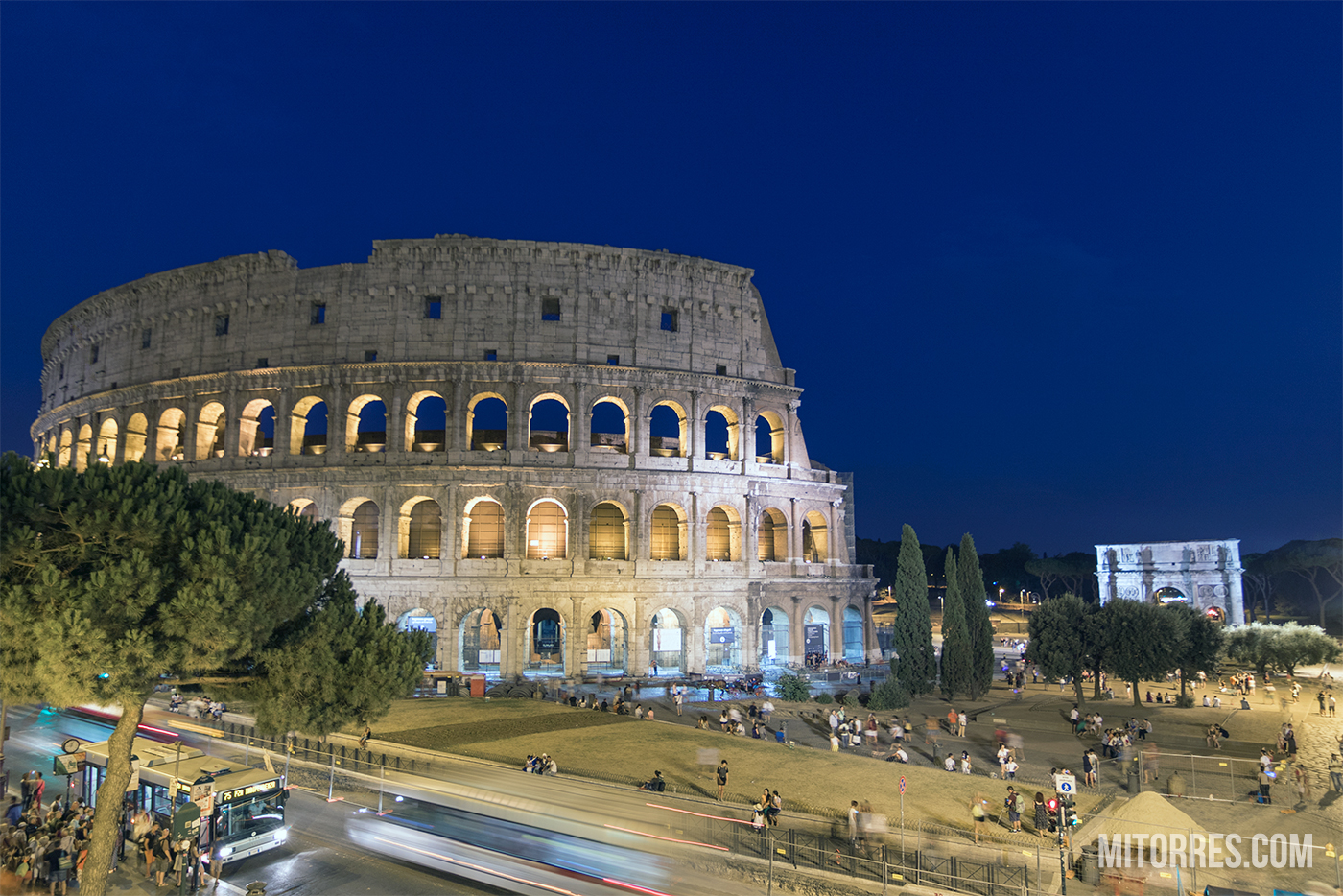 The Roman Colosseum at night in Rome, Italy. Photo: Marlon I. Torres