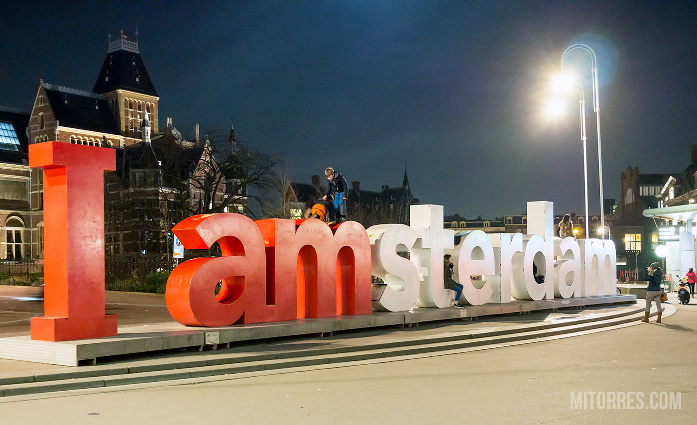 The I AMSTERDAM sign in the Museumplein behind the Rijksmuseum.