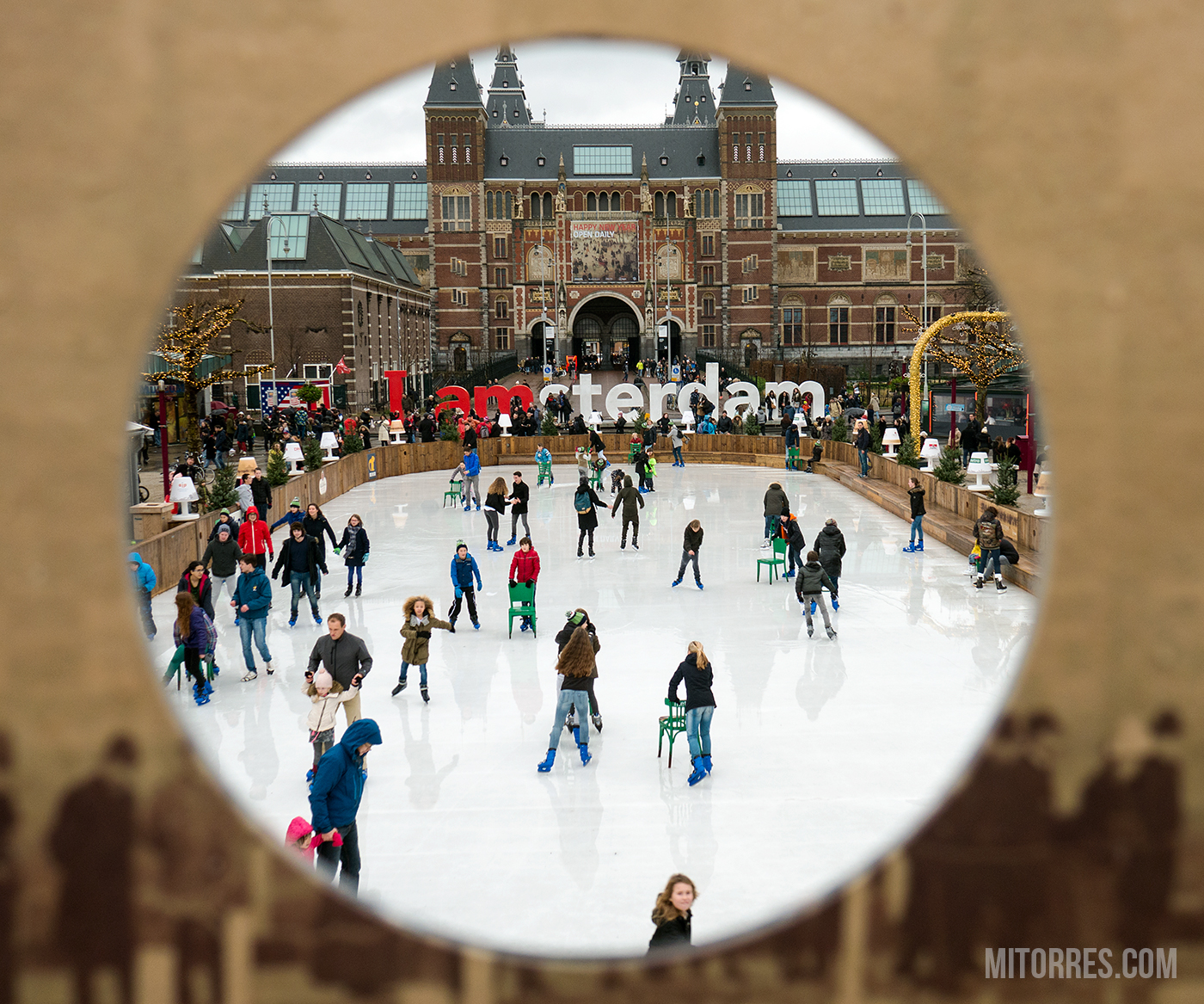 Ice skating rink by the I AMSTERDAM sign.