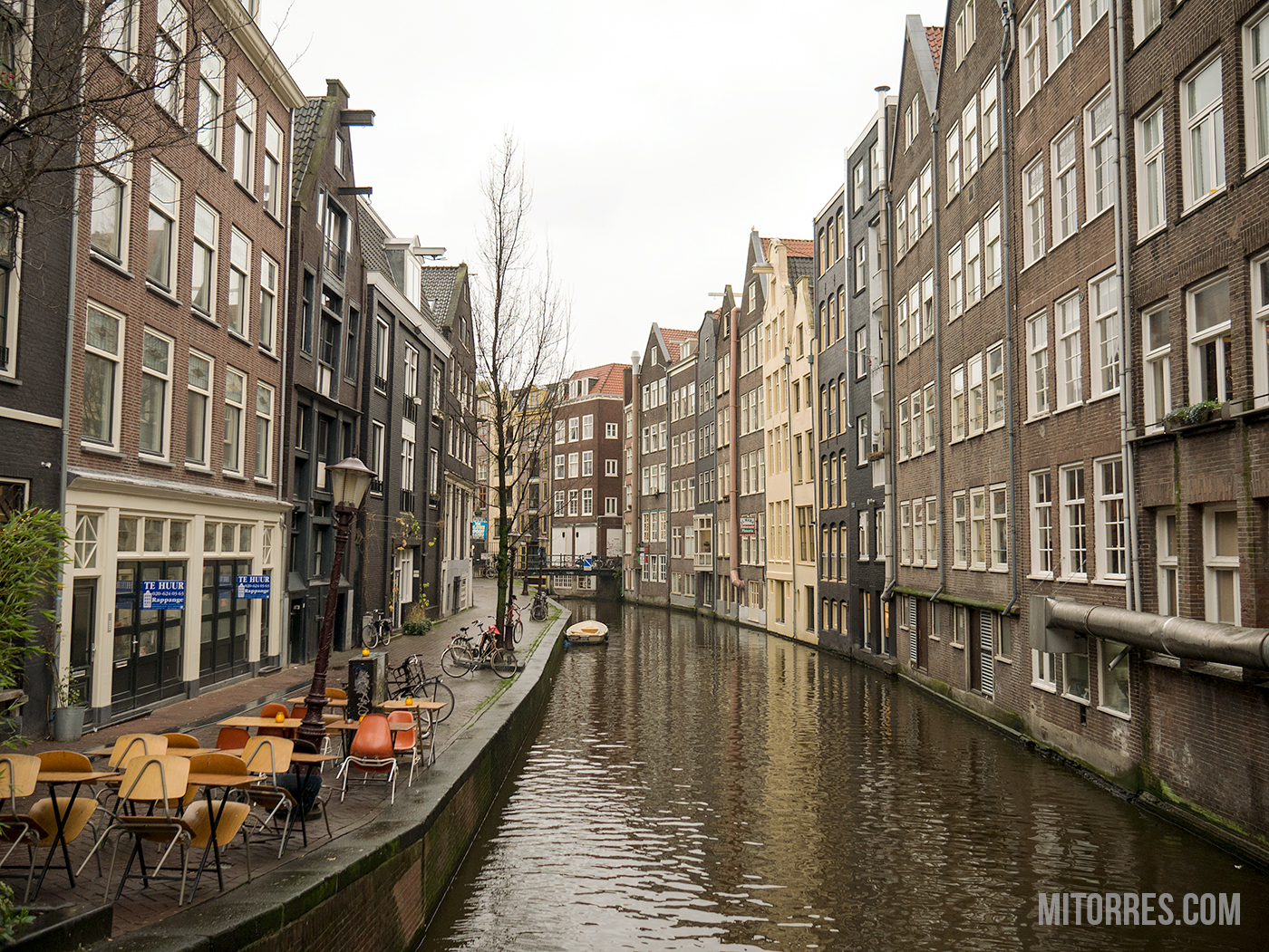 One of many canals in Amsterdam.