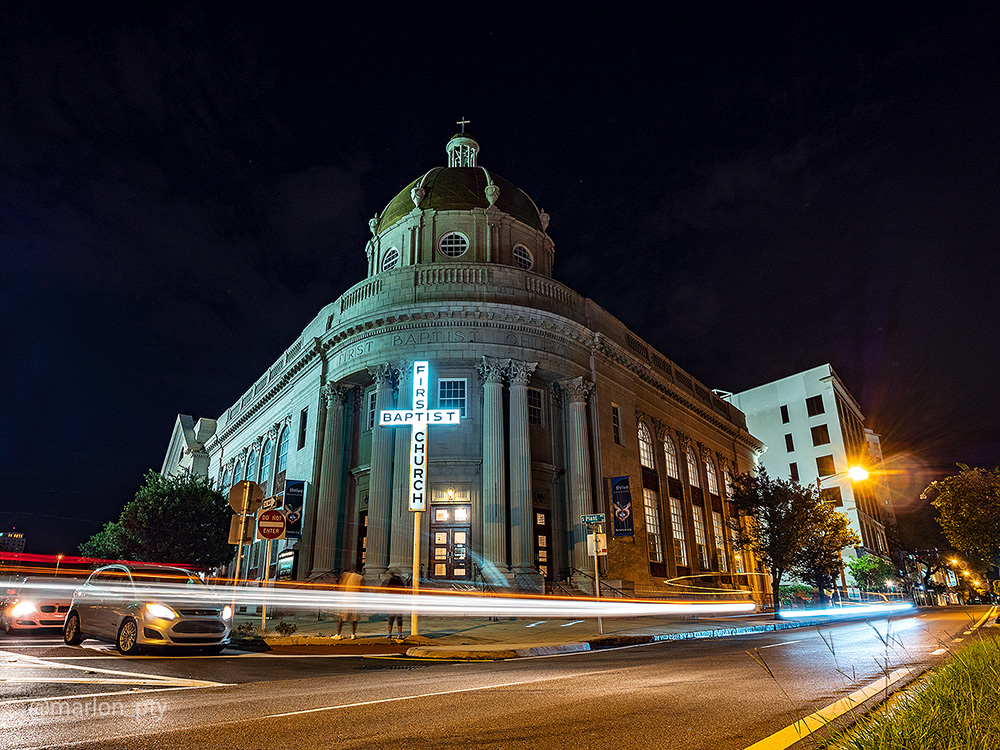 Night shot of the First Baptist of Tampa. Photo: Marlon I. Torres