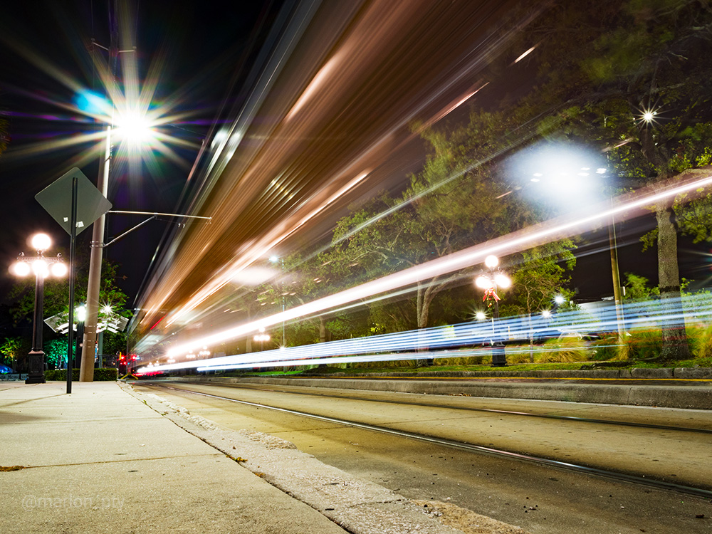 Long exposure shot of the Tampa Trolley. Photo: Marlon I. Torres
