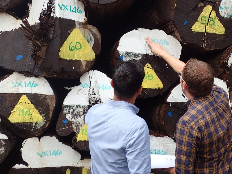 Operations Manager, Max (in checkered shirt) at a client's log yard in Myanmar