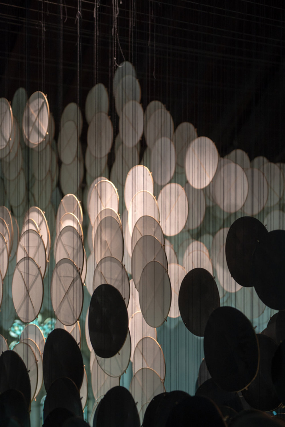 The Eclipse , 2017-2018   bamboo, paper, screenprints, and cotton thread   dimensions variable   Photo: Timothy Schenck