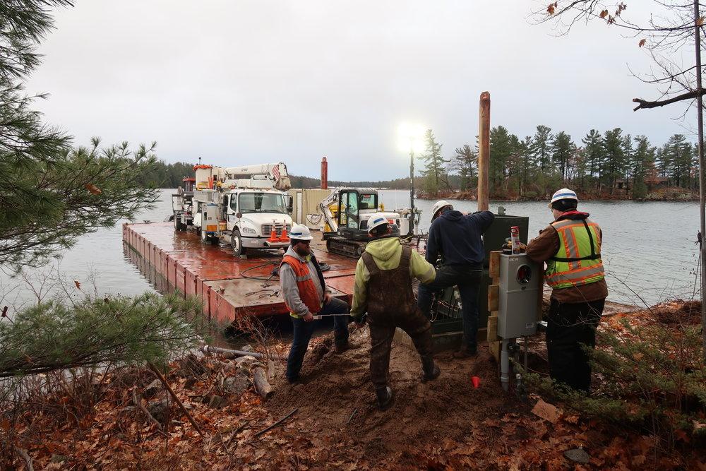 site work, National Grid, Seaway Marine Group, tug, barge