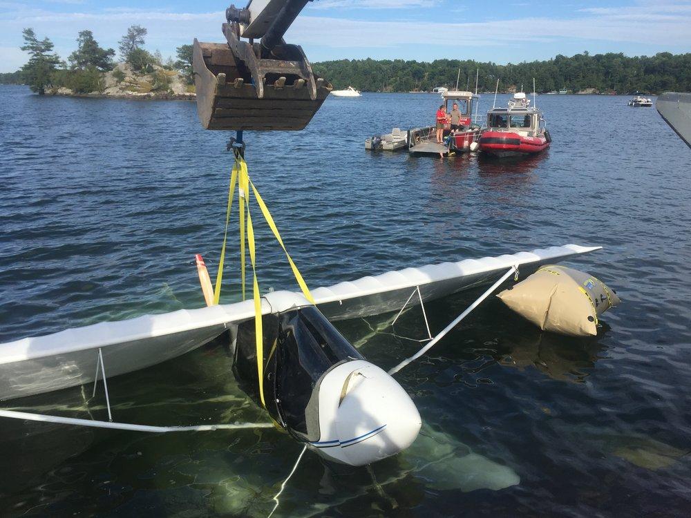 Salvage, TowBoatU.S., Seaway Marine Group, plane, St. Lawrence River