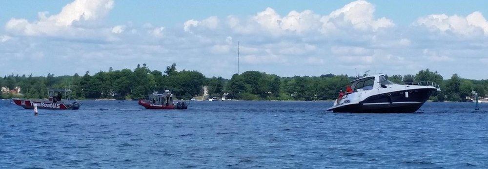 hard aground, TowBoatU.S., Thousand Islands, Lake Ontario, towing